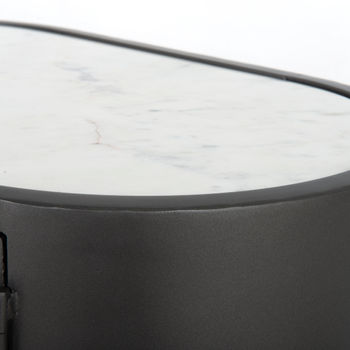 """Nightstand, 24""""H x 27""""W, Curved style, white marble top, perforated iron front, Gunmetal"""