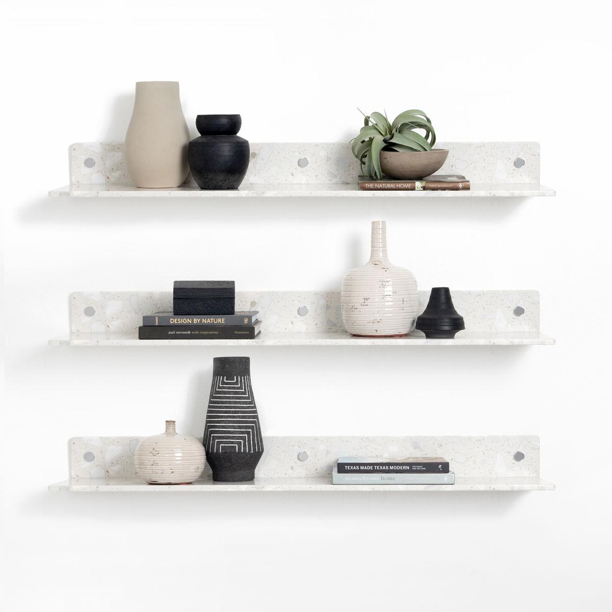 Lowry Wall Shelf, Set Of 3-White Terrazz