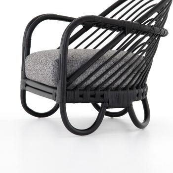 Chair, Ebony Rattan, Graphite color fabric