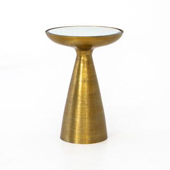 Marlow Mod Pedestal Table-Brushed Bras