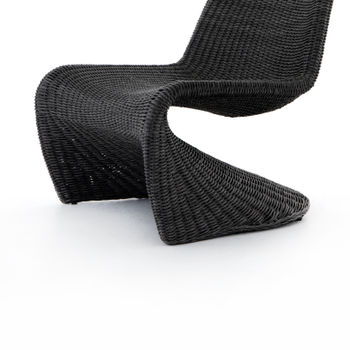Outdoor Chair, Modern Synthetic Woven Wicker, Vintage Coal