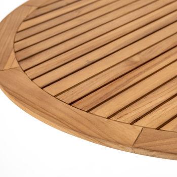 "Outdoor Bar + Counter Table, Natural Teak top Bronzed Aluminum base, 32"""