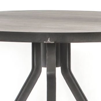 """Dining Table Modern Rustic in Mixed Reclaimed Wood, Dark Iron, Coal Grey Iron, 42""""D"""