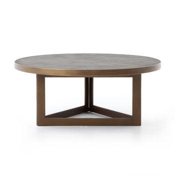 Shagreen Round Coffee Table-Antique Bras