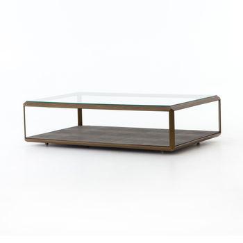 Shagreen Shadow Box Coffee Table-Brass