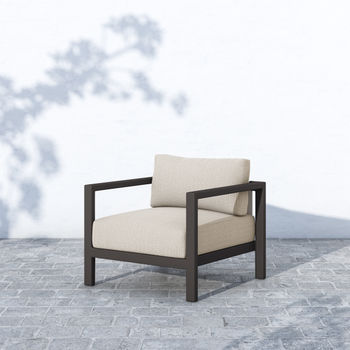 Outdoor Chair, Contemporary, Sand Fabric Color, Ivory Strap, Bronze Finish