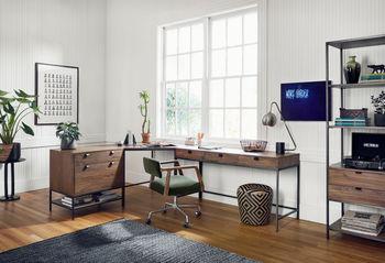 Desk Chair, Modern Velvet, Distressed Oak and Polished Steel Style