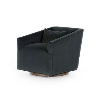 York Swivel Chair In Modern Velvet Smoke