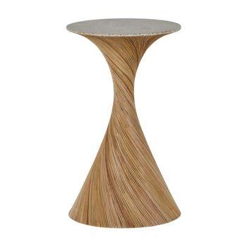 Rattan Veneer, Wood Drink Table
