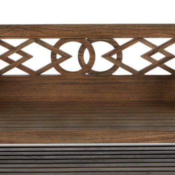 "Bench, 59.25""W, Geometric Style Mindy Wood, slatted storage shelf underneath, linen seat cushion,"