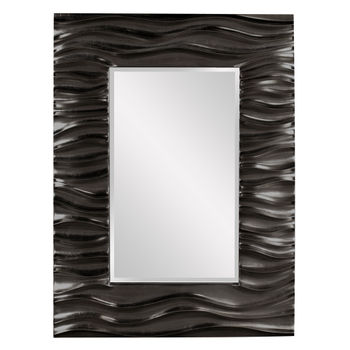 """Mirror, Deep Textured Wave Design in Glossy Black Lacquer Finish, 39""""H x 31""""W x 2""""D"""