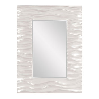 Mirror, Deep Textured Wave Design, Glossy White Lacquer Finish, 39H x 31W