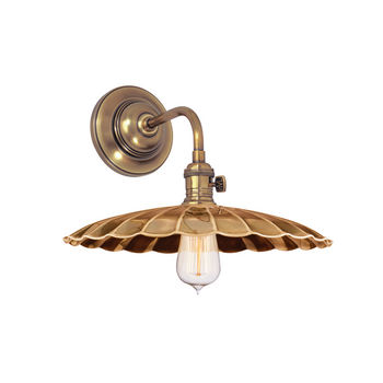 Heirloom 1 Light Wall Sconce, Aged Bronze Body, Aged Brass Shade Ms3
