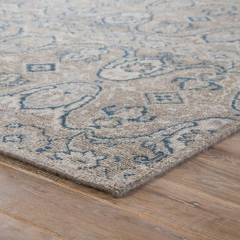 (9'X12') Williamsburg Hand-Knotted Medallion Gray/ Navy Area Rug
