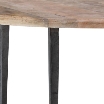 """Bistro Table, Rustic Modern Hand Worked, Waxed Wood Top, Hammered Antique Iron Legs, 45""""D"""