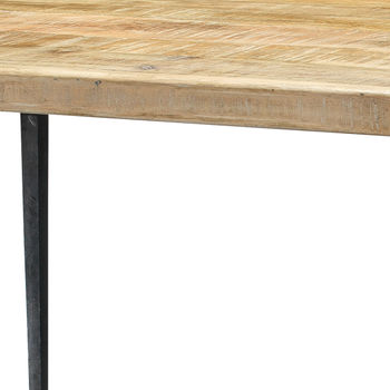 """Dining Table, Rustic Modern Hand Worked, Waxed Wood Top, Hammered Antique Iron Legs, 72""""D"""