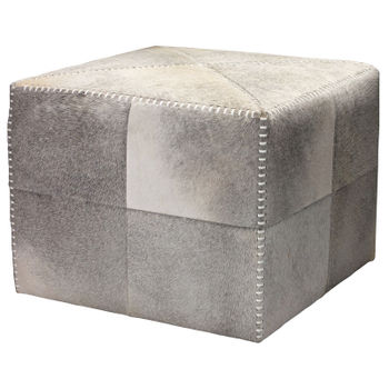 Large Ottoman In Grey Hide