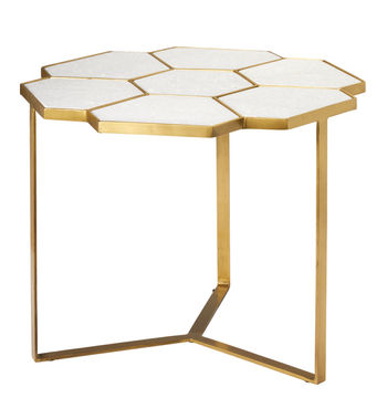 Perennial Side Table In White Marble & Brass Metal