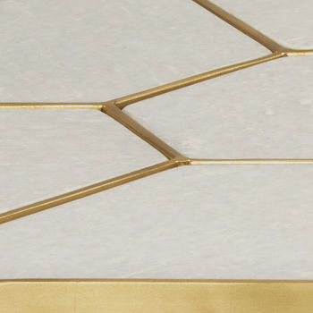 White Marble & Antique Brass Finish Side Table