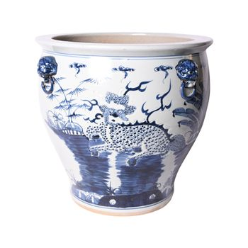 Blue And White Kylin Planter With Lion Handles