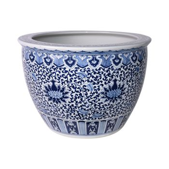 Blue And White Porcelain Sunflower Vine Planter 25 Inch