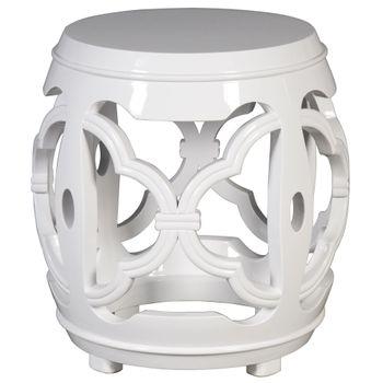 White Carved Fretwork Stool
