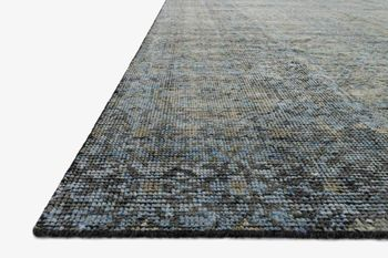 9' X 12' Hand-Knotted Rug,  Blue / Gold