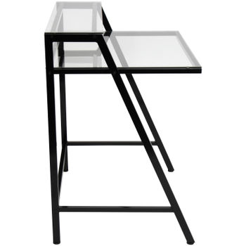 "Desk, 2-Tier Contemporary Desk in Black Metal & Clear Tempered Glass, 31""W"