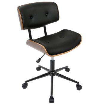 Lombardi Office Chair, Walnut And Black