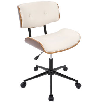Lombardi Office Chair, Walnut And Cream