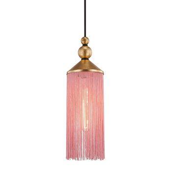 "1 Light Pendant, Gold Leaf And Pink, 16.75"""