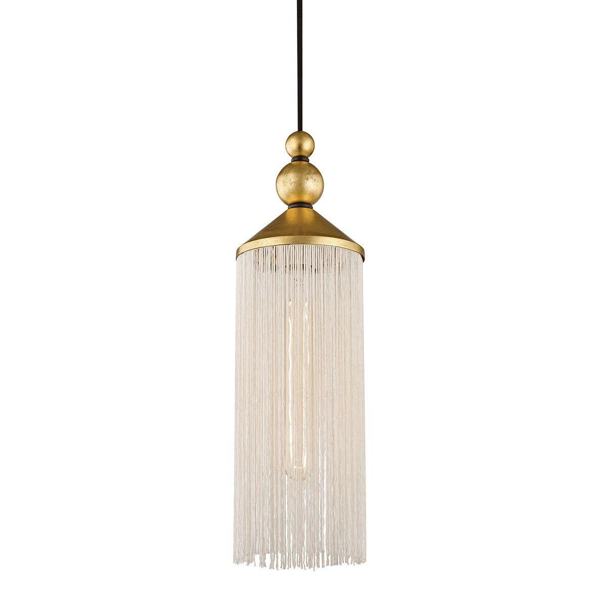 """1 Light Pendant, Gold Leaf/White, 16.75"""""""