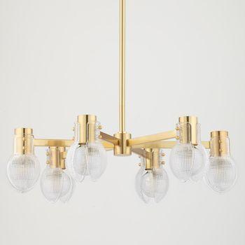 "6 Light Chandelier, Aged Brass, 8.5"""