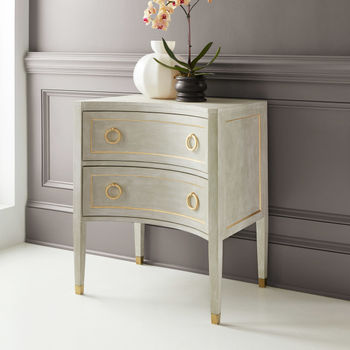 Gustavian Two Drawer Concave Nightstand