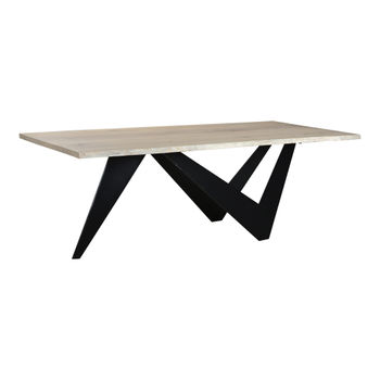"Dining Table, Modern Solid Live Edge White Oak Top, Matt Black Powder Coated Iron Base, 88""W"