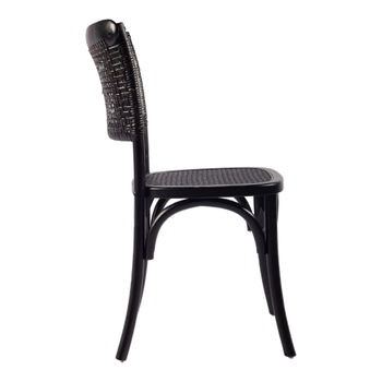 Dining Chair, Classic Style in Black Rattan & Solid Elm Frame