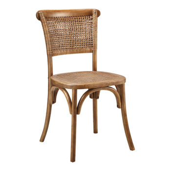 Dining Chair, Classic Style in Rattan & Solid Elm Frame