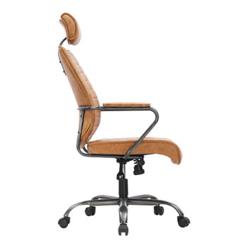 Office Chair, Swivel, Fully Adjustable, Luxurious Top-Grain Leather Seat, Cognac