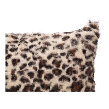 Goat Fur Bolster Spotted Brown Leopard