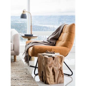 Top-Grain Leather, Iron, High-Density Foam Lounge Chair