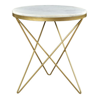 """Side Table, White Marble Tabletop & Powder Coated Golden Hairpin Legs, 20""""W x 20""""D"""