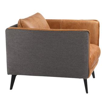 Top Grain Cognac Leather, & Fabric Arm Chair