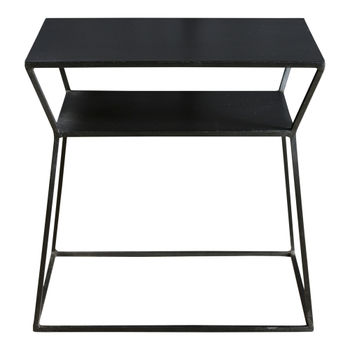 """Side Table,  Geometric Style in Matte Black Solid Iron, 19""""W x 14""""D"""