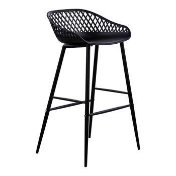 Outdoor Barstool, Modern black wicker backing, powder coated metal legs