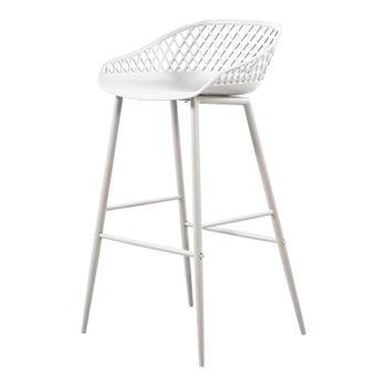 Outdoor Barstool Modern white wicker backing, powder coated metal legs
