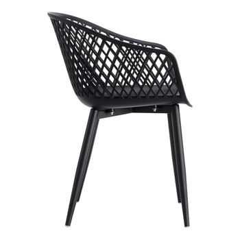 Outdoor Chair,  Modern black wicker backing, powder coated metal legs