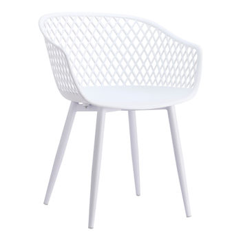 Outdoor Chair, Modern white wicker backing, powder coated metal legs