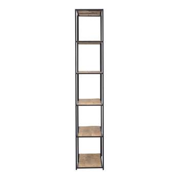 "Shelf, Simple Beauty Solid Mango Shelves & Black Iron Frame, 78""H x 36""W"