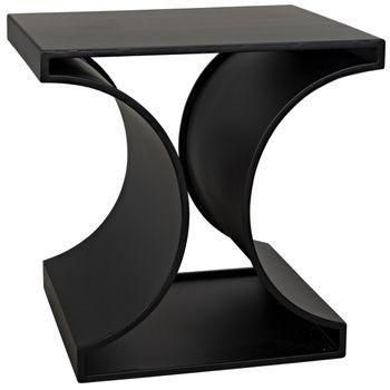"""Side Table, Arty Modern in Black Metal, 23.5""""W x 20""""D"""