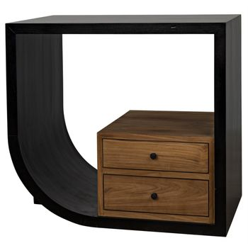 """Side Table, Left, Hand Rubbed Black Mahogany And Teak, Available in both left and right formats, 30""""W x 20""""D"""